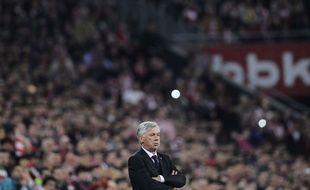 Carlo Ancelotti lors du match entre l'Athletic Bilbao et le Real Madrid le 7 mars 2015.