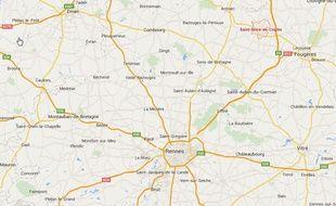 Plan de situation de Saint-Brice-en-Coglès, en Ille-et-Vilaine.