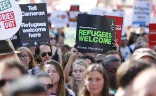 Manifestation en faveur de l'accueil de réfugiés syriens à Londres le 12 septembre 2015.