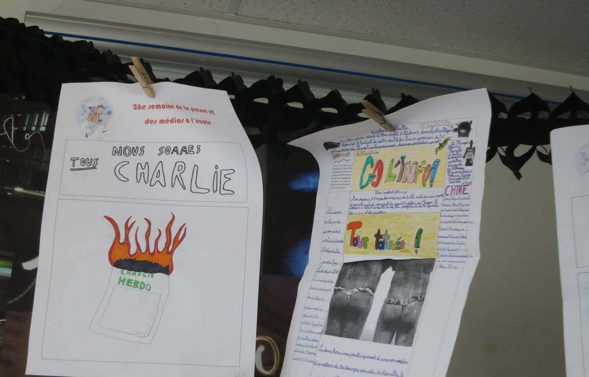 Illustration d'un journal école au collège Flavien de Paris, à l'occasion de la semaine de la presse et des médias à l'école –