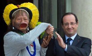 Le chef indien brésilien Raoni, arborant une coiffe à plumes jaunes et son fameux plateau labial, a plaidé vendredi la cause de l'Amazonie et des peuples autochtones à l'Elysée où il a été reçu par le président François Hollande.