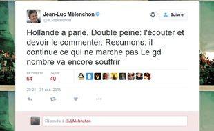 Capture d'écran du tweet de Jean-Luc Mélenchon après les voeux de François Hollande le 31 décembre.