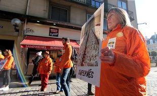Des militants de l'association L214 manifestent devant une enseigne La Brioche Dorée, propriété du groupe Le Duff. Le 21 janvier 2020, à Rennes.
