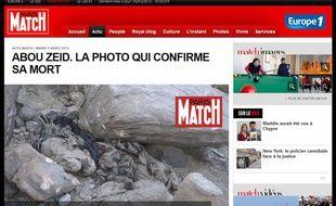 Capture d'écran du site de «Paris Match» présentant une photo qui atesterait de la mort d'Abou Zeid au Mali, le 5 mars 2013.