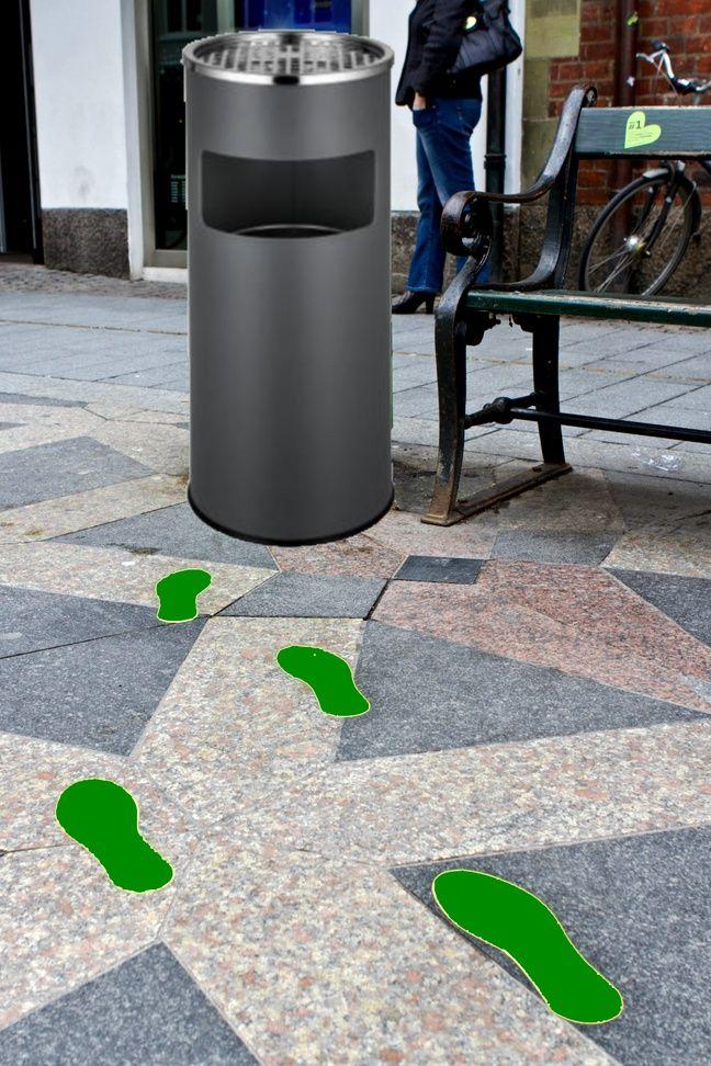 Avec ce cendrier rigolo, la conceptrice du projet compte installer des pas au sol pour le faire remarquer.