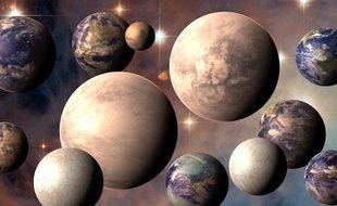 Vue d'artiste des différents types de planètes habitables que comptent notre galaxie