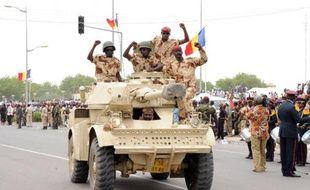 Des soldats tchadiens de retour du Mali, dans les rues de N'Djamena, le 13 mai 2013