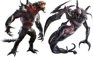 Deux des trois monstres dans Evolve: le Goliath et le Spectre.