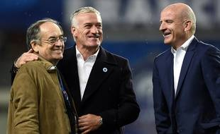 Noël Le Graët, Didier Deschamps et Guy Stéphan avant le France-Albanie à Rennes, le 14 novembre 2014.