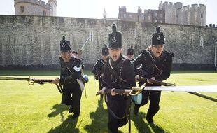 Des amateurs participent à une reconstitution de la bataille de Waterloo, le 21 juin 2014 à Londres