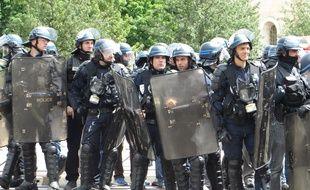 Des CRS lors d'une manifestation à Lyon. (Illustration)