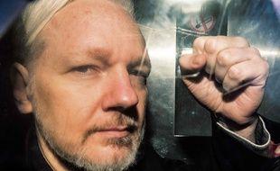 Le 1er mai 2019, Julian Assangeà Londres.Daniel LEAL-OLIVAS / AFP.