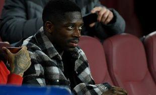 Ousmane Dembélé en tribunes lors du match Barcelone-Levante, le 2 février 2020.