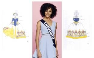 Aude Destour, alias miss Limousin, entourée de ses croquis pour sa robe régionale.