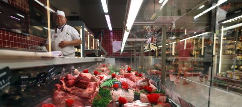 Une boucherie dans un supermarché, à Coutances (image d'illustration).