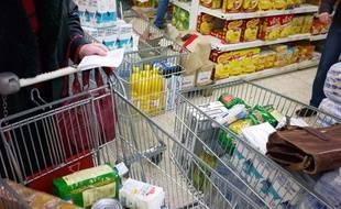 Un caddie de supermarché, à Lyon, en 2009