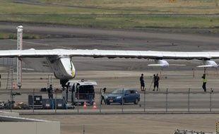 L'avion solaire Solar Impulse 2 à l'aéroport de Nagoya le 2 juin 2015