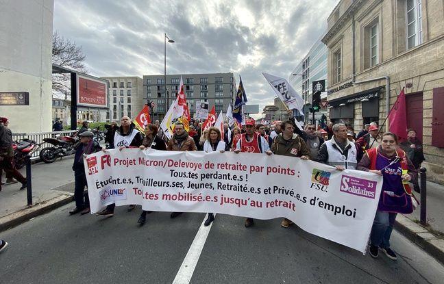 Les leaders syndicaux à la manifestation du 17 décembre 2019 à Bordeaux