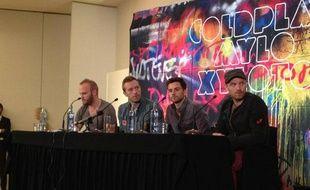 Le groupe britannique Coldplay présentait à Madrid (Espagne) son cinquième album, Mylo Xyloto, le 26 octobre 2011.