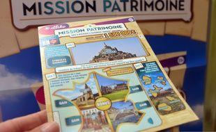 Illustration d'un ticket du Loto du patrimoine, jeu à gratter permettant d'aider à la sauvegarde des monuments.