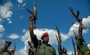 Des soldats de l'Armée populaire de libération du Soudan, le 14 avril 2016 à Juba