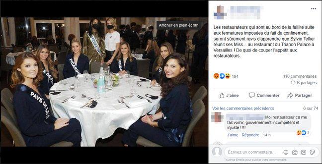 Sur cette publication, un internaute s'indigne du fait que les candidates Miss France puissent prendre leur repas au Trianon Palace, à Versailles.