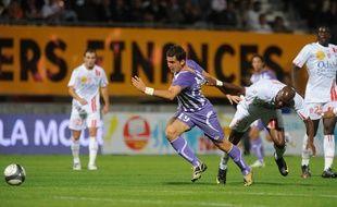 Xavier Pentecôte sous le maillot du TFC, lors d'un match de Ligue 1 à Nancy, le 12 septembre 2009.