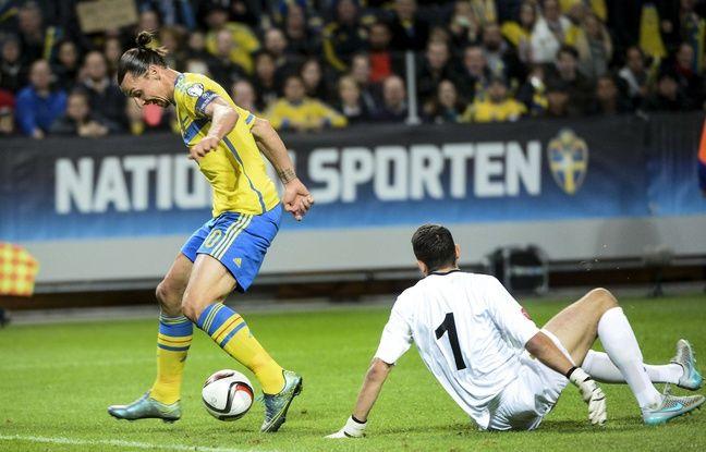 Zlatan Ibrahimovic lors du match de qualification de l'Euro 2016 entre la Suède et la Moldavi, le 12 octobre 2015