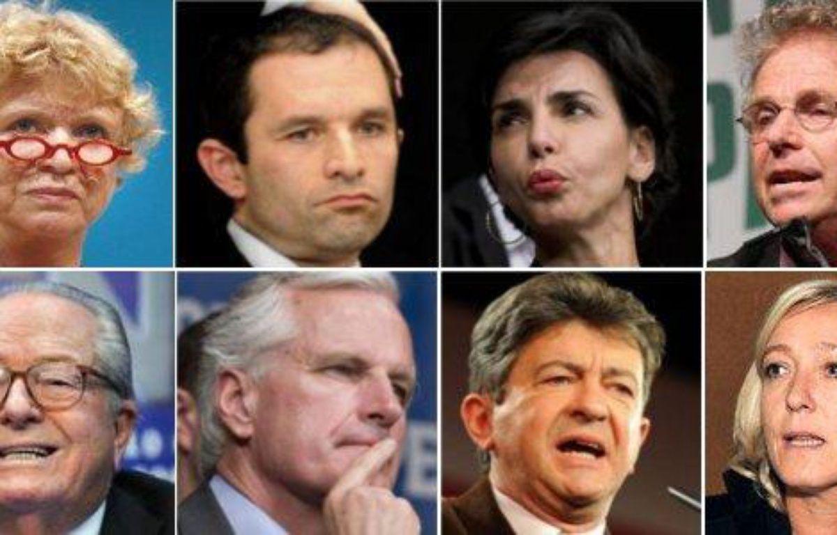 Eva Joly, Benoît Hamon, Rachida Dati, Daniel Cohn-Bendit, Jean-Marie Le Pen, Michel Barnier, Jean-Luc Mélenchon et Marine Le Pen – Montage/DR