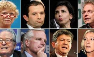 Eva Joly, Benoît Hamon, Rachida Dati, Daniel Cohn-Bendit, Jean-Marie Le Pen, Michel Barnier, Jean-Luc Mélenchon et Marine Le Pen