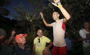 Le coureur d'ultra-trail Lambert Santelli à l'arrivée du GR20 à Conca en Corse, le 26 juin 2021.