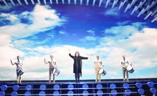 Lisa Angell, lors des répétitions de la finale de l'Eurovision, le 20 mai 2015, à la Stadthalle de Vienne (Autriche).