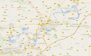 Google map de Meaux, en Seine-et-Marne.