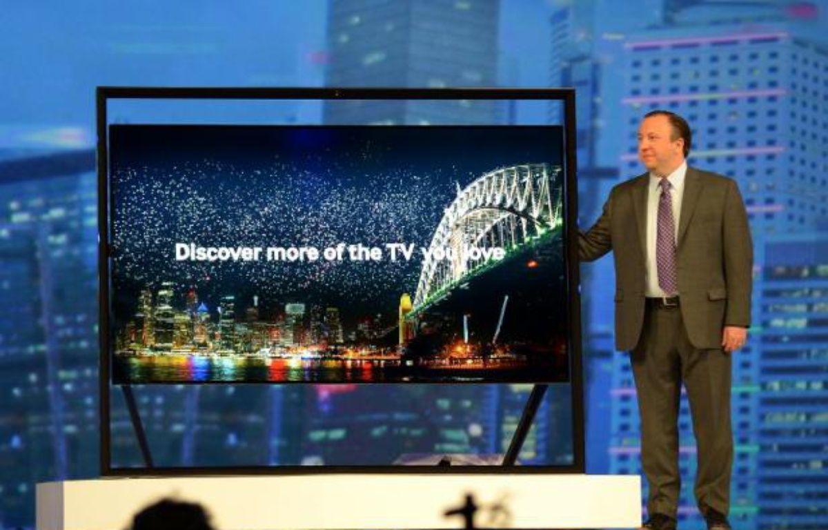 Samsung a présenté une nouvelle version de ses smart TV, le 7 janvier, au CES de Las Vegas. – J.KLAMAR/AFP