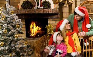 Illustration d'une famille à Noël