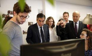 François Fillon, Alain Juppé et  Nathalie Kosciusko-Morizet ont visité, mercredi 19 avril, les locaux de la société Deezer.