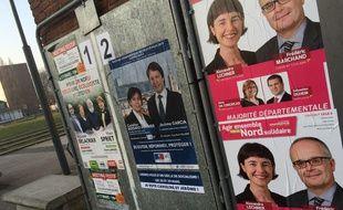 Panneaux électoraux dans le canton de Lille-3