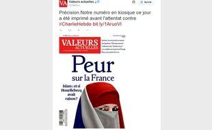 La Une de l'hebdomadaire «Valeurs actuelles» en kiosques le 8 janvier 2015. Le numéro avait été bouclé avant l'attentat meurtrier à «Charlie Hebdo».