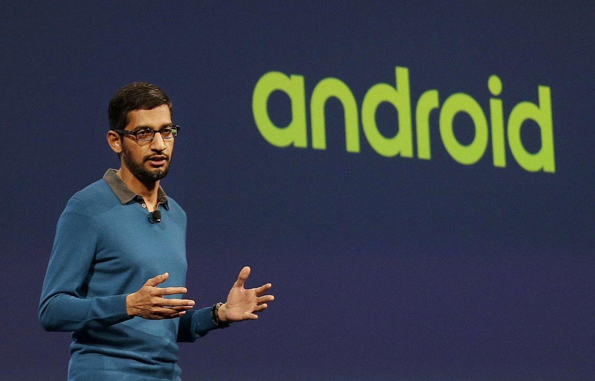 Le directeur d'Android et nouvel homme fort de Google, Sundar Pichai, à la conférence I/O, le 28 mai 2015. – J.CHIU/AP/SIPA