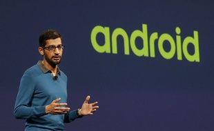 Le directeur d'Android et nouvel homme fort de Google, Sundar Pichai, à la conférence I/O, le 28 mai 2015.