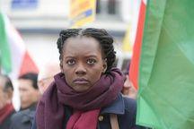 Rama Yade le 28 janvier 2016 à Paris, lors d'une manifestation contre la visite du président iranien Hassan Rohani.
