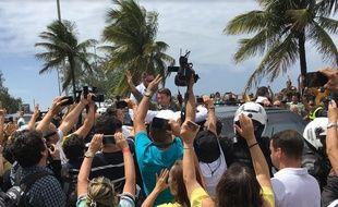 Jair Bolsonaro de retour à son domicile après avoir voté, le dimanche 28 octobre 2018.