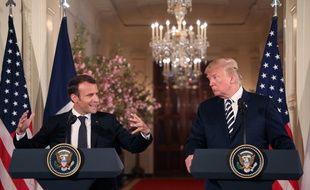 Donald Trump et Emmanuel Macron à Washington le 24 avril pour une conférence de presse commune.