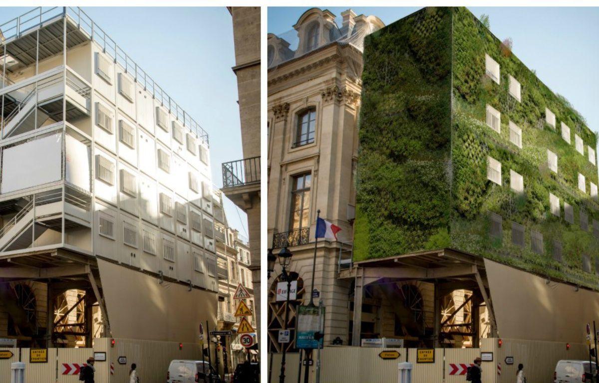 Un échafaudage avant et après végétalisation, un des 25 projets sélectionnés par l'accélérateur FAIRE PARIS.  – Magasin Général / FAIRE PARIS
