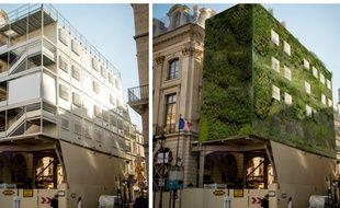Un échafaudage avant et après végétalisation, un des 25 projets sélectionnés par l'accélérateur FAIRE PARIS.