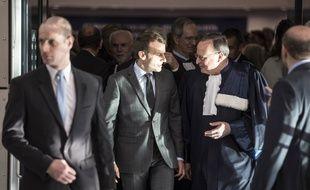 Emmanuel Macron lors de son déplacement au Conseil de l'Europe et à la Cour européenne des droits de l'homme de Strasbourg, fin octobre 2017.