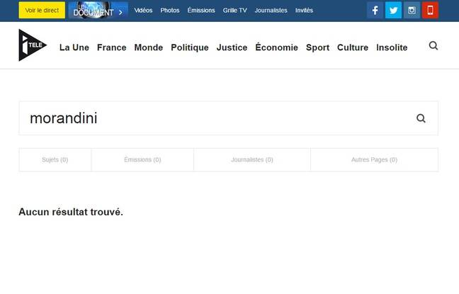 Capture d'écran du site internet d'i-Télé, où l'animateur Jean-Marc Morandini n'apparaît nulle part.