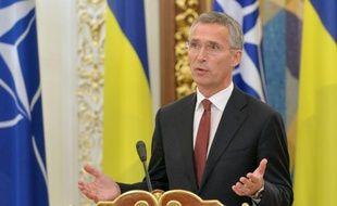 Le secrétaire général de l'Otan, Jens Stoltenberg, lors d'une conférence de presse à Kiev le 22 septembre 2015