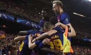 La joie des Barcelonais lors du 8e de finale retour de Ligue des champions face à Chelsea, le 14 mars 2018.