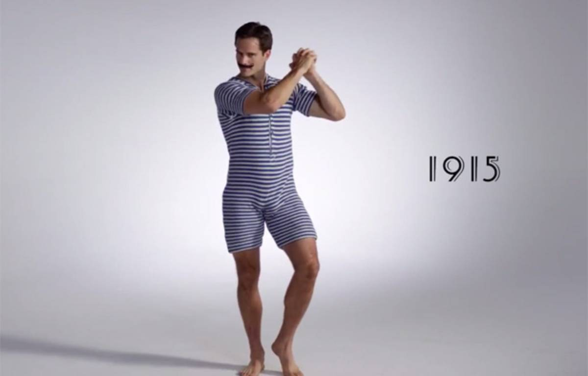 video 100 ans de maillots de bain pour hommes en trois. Black Bedroom Furniture Sets. Home Design Ideas